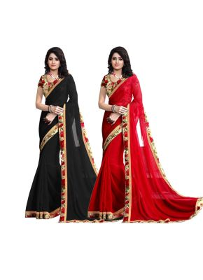 Buy Wama Goregtte Fancy Red&black Saree(tz_chandra_combo) online