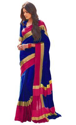 Buy Wama Blue Cotton Silk Saree With Blouse(tz_himanishi_ Blue) online