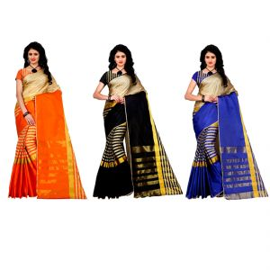 Buy Wama Fashion Set Of 3 Silk Sarees (code - Combo_tz_arun_ Orange And Black And Blue(pack Of 3) online