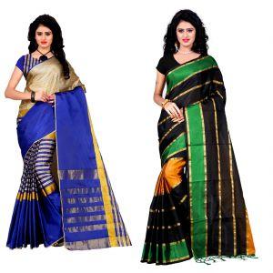 Buy Wama Fashion Set Of 2 Silk Sarees (code - Combo_tz_arun_blue And Tz_patta_green) online