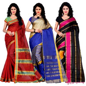 Buy Wama Fashion Set Of 3 Silk Sarees (code - Combo_maliya_maroon_arun_blue_patta_pink) online