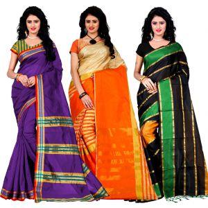 Buy Wama Fashion Set Of 3 Silk Sarees (code - Combo_maliya_purple_arun_orange_patta_green) online