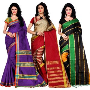 Buy Wama Fashion Set Of 3 Silk Sarees (code - Combo_maliya_purple_arun_red_patta_green) online