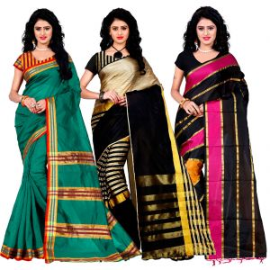 Buy Wama Fashion Set Of 3 Silk Sarees (code - Combo_maliya_rama_arun_black_patta_pink) online
