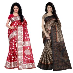 Buy Wama Fashion Set Of 2 Printed Multicolour Raw Silk Sarees (code - Combo-1003_a-1025_a) online