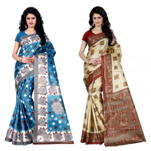 Buy Wama Fashion Set Of 2 Printed Multicolour Raw Silk Sarees (code - Combo-1003_b-1016_c) online