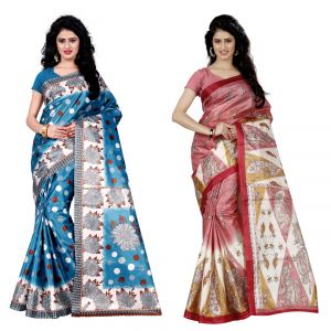 Buy Wama Fashion Set Of 2 Printed Multicolour Raw Silk Sarees (code - Combo-1003_b-1038_a) online