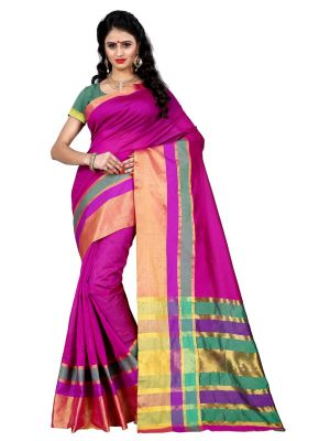 Buy Wama Tussar Cotton Pink Saree With Blouse(tz_jodha_pink) online
