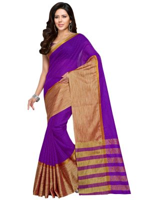 Buy Wama Fashion Cotton Silk Sari(tz_kumkum_purpal) online