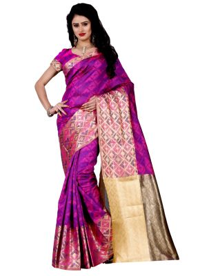 Buy Wama Bridal Kanjivaram Sari With Blouse(tz_lovely_pink) online