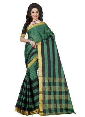 Buy Wama Tussar Cotton Green Saree With Blouse(tz_pari_green) online