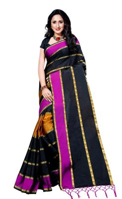 Buy Wama Fashion Cotton Silk Sari(tz_patta_pink) online