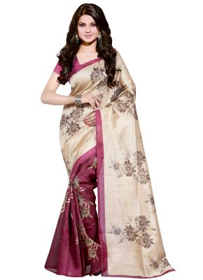Buy Wama Fashion Cotton Silk Sari(tz_sunflower Rani) online