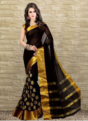 Buy Wama Fashiontussar Cotten Silk Sari (tz_vishva_dots) online