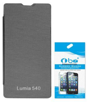 Tbz Flip Cover Case For Microsoft Lumia 540 With Tempered Glass Screen  Guard - Black