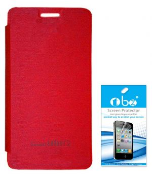 buy online a22fb 40b98 Tbz Flip Cover Case For Micromax Canvas Knight 2 E471 With Screen Guard -  Red