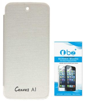 more photos c9c8e eae12 Tbz Flip Cover Case For Micromax Canvas A1 Android One With Tempered Screen  Guard - White