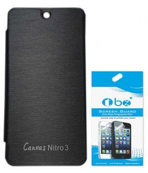 best loved 2fa12 008a4 Tbz Flip Cover Case For Micromax Canvas Nitro 3 E455 With Screen Guard -  Black