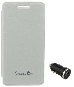 best service f9990 650f3 Tbz Flip Cover Case For Micromax Canvas 4 Plus A315 With Car Charger - White