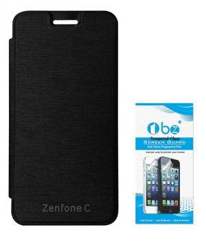 purchase cheap 1e25e d0985 Tbz Flip Cover Case For Asus Zenfone C With Tempered Screen Guard -black