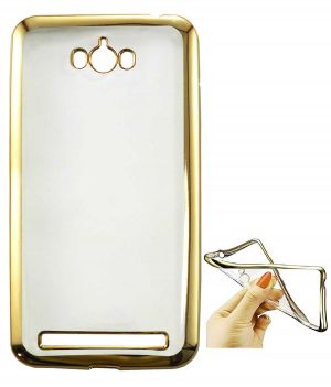 Buy Tbz Transparent Electroplated Edges Tpu Back Case Cover For Asus Zenfone Max Zc550kl -golden online
