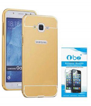 pretty nice e40f3 0803d Tbz Metal Bumper Acrylic Mirror Back Cover Case For Samsung Galaxy J7 Prime  With Tempered Screen Guard - Golden