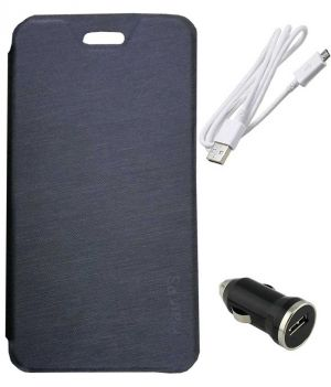 Buy Tbz Flip Cover Case For Lava Flair P3 With Car Charger And Data Cable - Black online