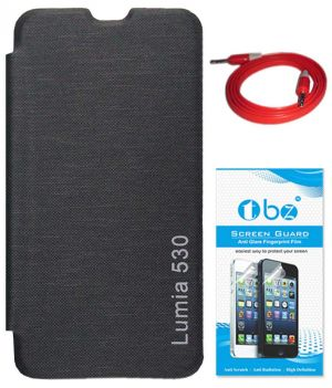 more photos 08dc0 a48df Tbz Flip Cover Case For Nokia Lumia 530 With Aux Cable And Screen Guard -  Black