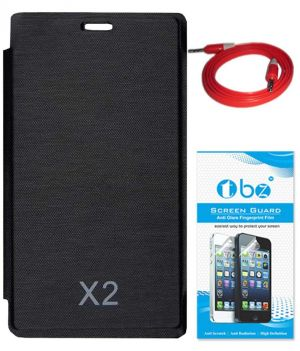 release date: b8109 87a38 Tbz Flip Cover Case For Nokia X2 With Aux Cable And Screen Guard - Black