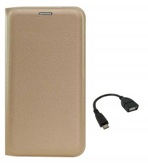 promo code d1133 086f1 Tbz Pu Leather Flip Cover Case For Samsung Galaxy J7 Prime With Otg Cable -  Golden