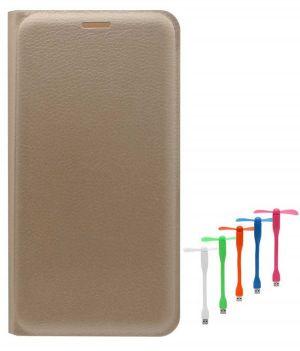newest fa3de eb009 Tbz Pu Leather Flip Cover Case For Lenovo K6 Power With USB Flexible Fan -  Golden