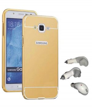 premium selection a8fed 08c54 Tbz Metal Bumper Acrylic Mirror Back Cover Case For Samsung Galaxy J5 2016  With USB Car Charger - Golden