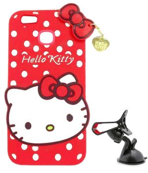 best service abfc4 794b0 Tbz Cute Hello Kitty Soft Rubber Silicone Back Case Cover For Vivo V7 Plus  With Mobile Car Mount Holder Stand