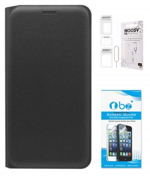 detailed look d4f24 87513 Tbz Pu Leather Flip Cover Case For Oppo Joy 3 With Nossy Sim Adaptor And  Tempered Screen Guard - Black