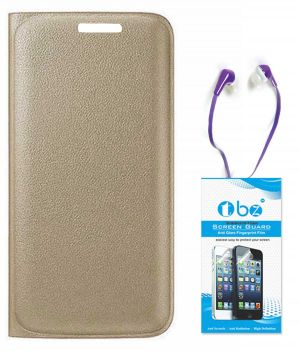 low priced f2395 1a52b Tbz Pu Leather Flip Cover Case For Micromax Canvas 6 Pro E484 With Earphone  And Tempered Screen Guard - Golden