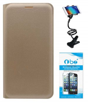 finest selection 585a4 12e68 Tbz Pu Leather Flip Cover Case For Oppo Joy 3 With Flexible Lazy Stand And  Tempered Screen Guard - Golden