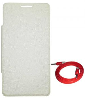 check out b4ab6 3062b Tbz Flip Cover Case For Samsung Galaxy Grand 2 With Aux Cable - White