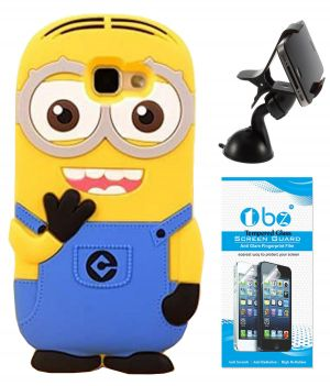 Buy Tbz Cartoon Minion Soft Rubber Silicone Back Case Cover For Samsung Galaxy J7 Prime With Mobile Car Mount Holder Stand And Tempered Screen Guard online