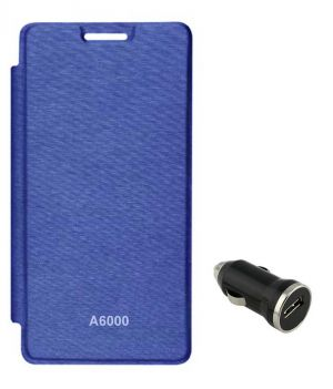 new concept f8b66 7840d Tbz Flip Cover Case For Lenovo A6000 With Car Charger - Royal Blue