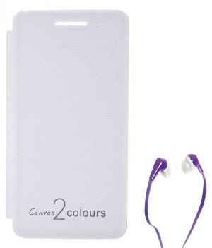 innovative design 39bc5 4f27a Tbz Flip Cover Case For Micromax Canvas 2 Colours A120 With Earphone - White