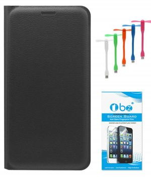 online store fcfe6 053bb Tbz Pu Leather Flip Cover Case For Xiaomi Redmi Note 4 With USB Flexible  Fan And Tempered Screen Guard - Black