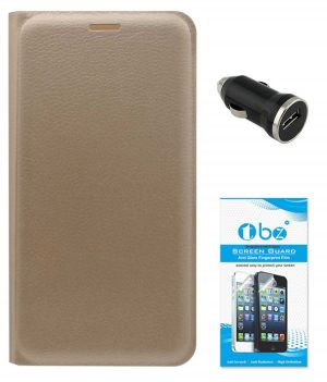Buy Tbz Pu Leather Flip Cover Case For Lenovo K6 Power With Car Charger And Tempered Screen Guard - Golden online