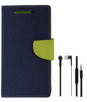 huge discount 3de72 bad6b Tbz Diary Wallet Flip Cover Case For Lenovo K6 Power With Earphone  -blue-green