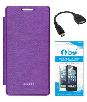 differently a3de0 92706 Tbz Flip Cover Case For Lenovo A6000 With Screen Guard And Otg Cable -  Purple