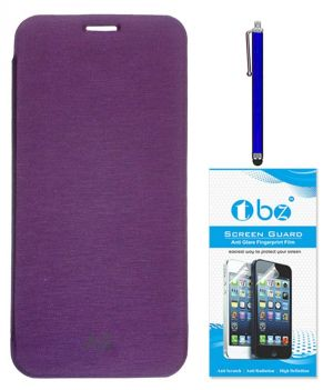 Buy Tbz Flip Cover Case For Samsung Galaxy A8 With Stylus Pen And Screen Guard - Purple online