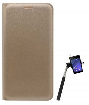 best service 0727e 6ce29 Tbz Pu Leather Flip Cover Case For Lenovo Vibe K5 Plus With Selfie Stick  With Aux - Golden