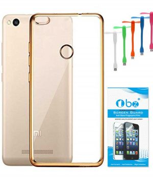 timeless design d4aaa 3d1b5 Tbz Transparent Electroplated Edges Tpu Back Case Cover For Xiaomi Redmi 3s  Prime With USB Flexible Fan And Tempered Screen Guard - Golden