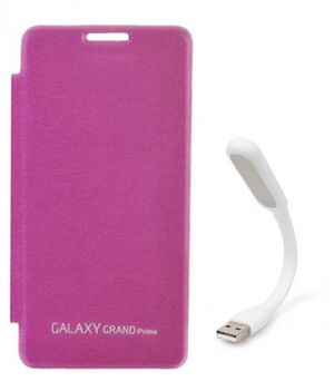 innovative design c97a3 be6b2 Tbz Flip Cover Case For Samsung Galaxy Grand Prime G530h With Flexible USB  LED Light Lamp - Pink
