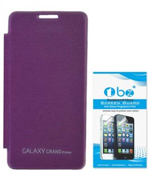 new product d40b7 a60c3 Tbz Flip Cover Case For Samsung Galaxy Grand Prime G530h With Tempered  Screen Guard - Purple