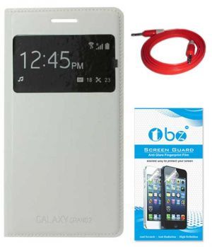 competitive price 4312e 280c1 Tbz S-view Flip Cover Case For Samsung Galaxy Grand 2 With Aux Cable And  Screen Guard - White